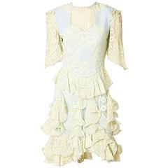 Zhandra Rhodes Stenciled Print Chiffon Dress