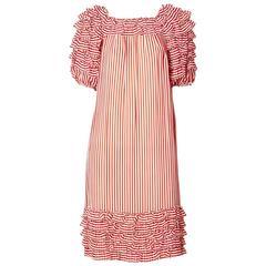Guy LaRoche Striped Chiffon Dress With Ruffles