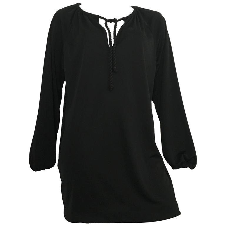 Geoffrey Beene 70s Black Mini Dress Size Small.