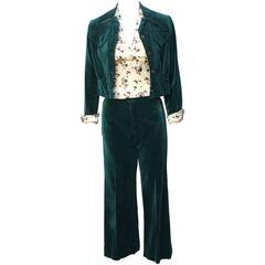 3 Piece 1970s Velvet Women's Pantsuit