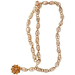 Vintage CHANEL Goldtone Chain Belt with Faux Pearls and Flower Pendant
