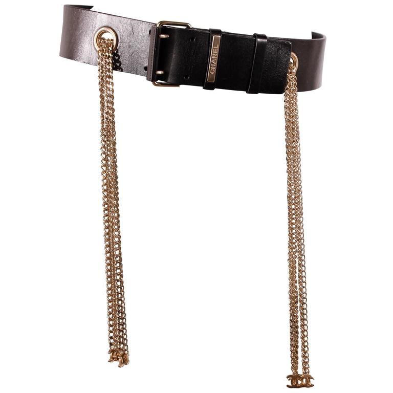 Chanel Leather Belt with Silver Chains CC-logo 1