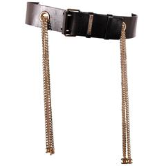 Chanel Leather Belt with Silver Chains CC-logo