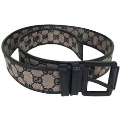 Gucci black wide logo canvas & leather belt M