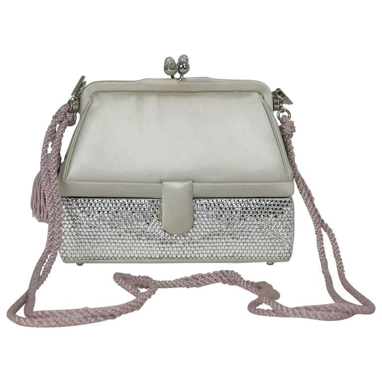 Judith Leiber silver satin & Swarovski crystal two tier minaudiere evening bag