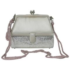 Judith Leiber silver satin & Swarovski crystal two tier minaudiere evening bag