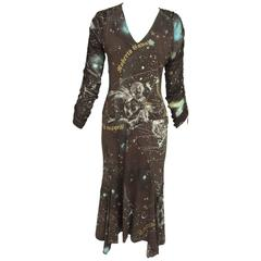 Roberto Cavalli rare chocolate brown silk Constellation dress 1990s
