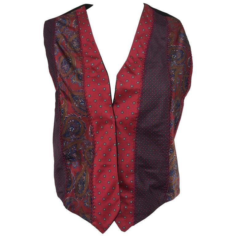 Vintage Christian Dior silk foulard open front vest 1970s
