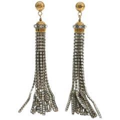 Louis Vuitton NEW Silver Gold Rhinestone Sparkle Dangle Drop Earrings in Box