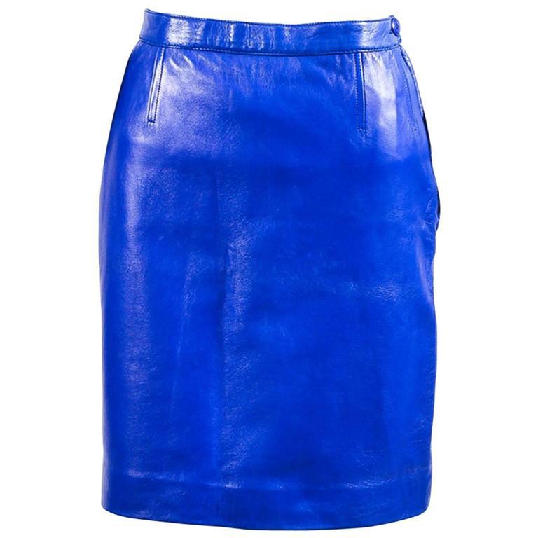 Vintage Saint Laurent Royal Blue Leather Pencil Skirt SZ 44 1