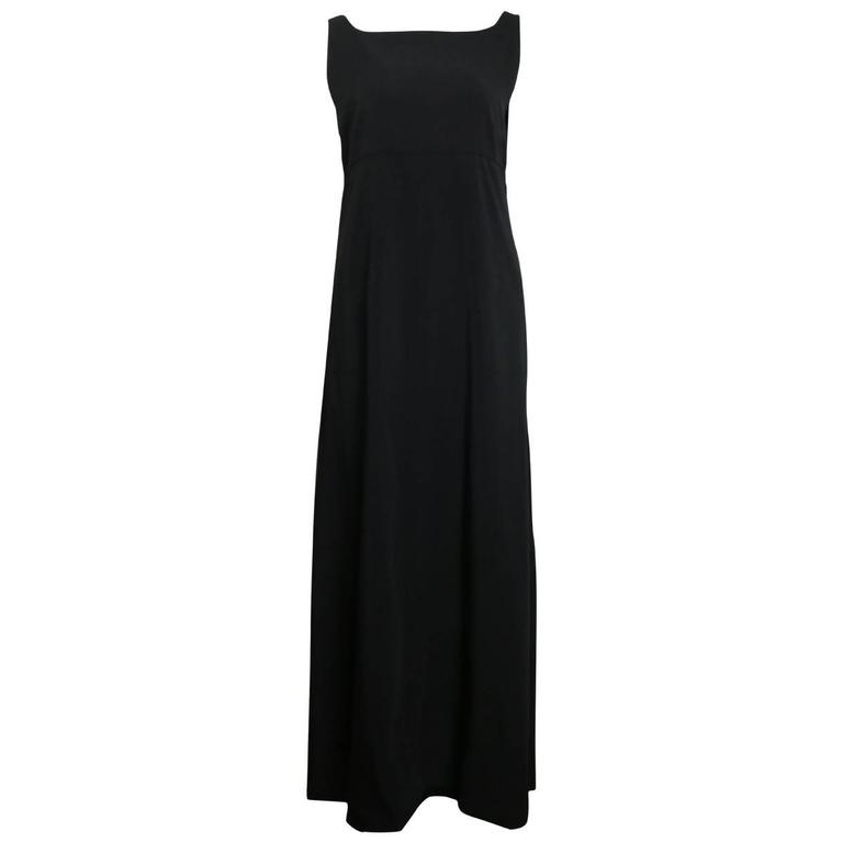 Chanel Black A-Line Jersey Maxi Dress