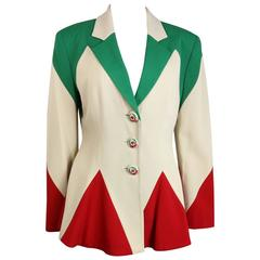 "Moschino Cheap and Chic Colour Blocked Letter ""M"" Flare Jacket"