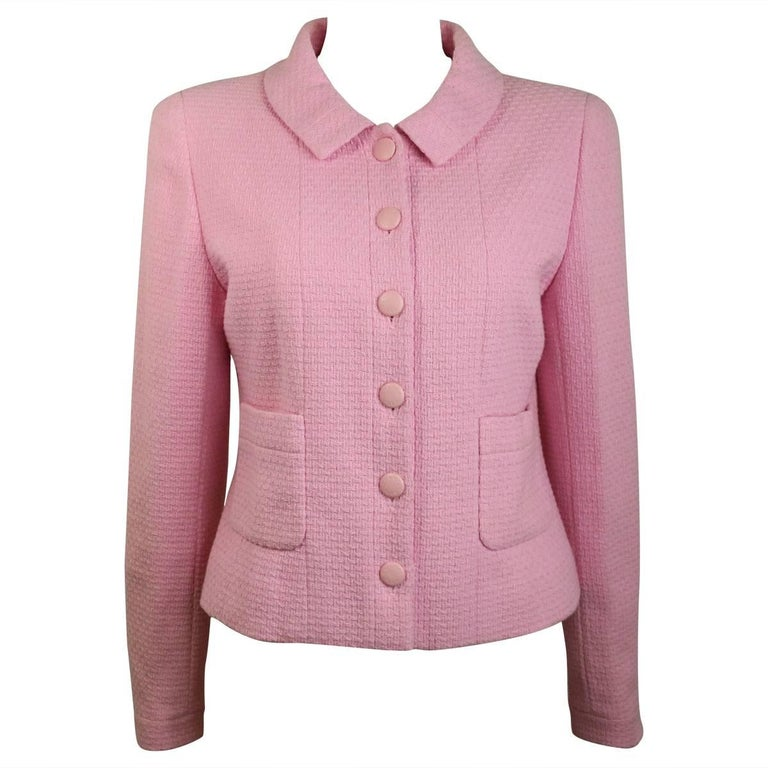 Chanel Classic Pink Tweed Boucle Cropped Jacket For Sale