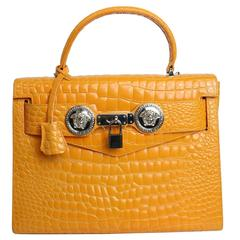 Gianni Versace Couture Orange Croc Embossed Enamel Leather Kelly Style Handbag