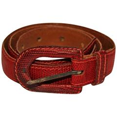 Yves Saint Laurent Paris, Red Lizzard Skin  Belt