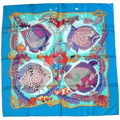 "Hermes Vintage Silk Carre Scarf ""Grands Fonds"" by Annie Faivre 1992"