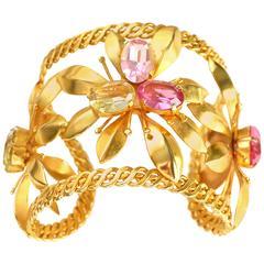 Philippe Ferrandis Gilt Pink Glass Floral Cuff