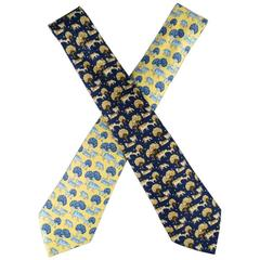 HERMES Yellow & Blue Cow & Tree Print Silk Tie
