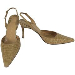 Rene Mancini Paris blond alligator sling back high heel pumps 36