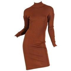 1980S AZZEDINE ALAIA Cinnamon Brown Wool Knit Turtleneck Body-Con Dress With Di