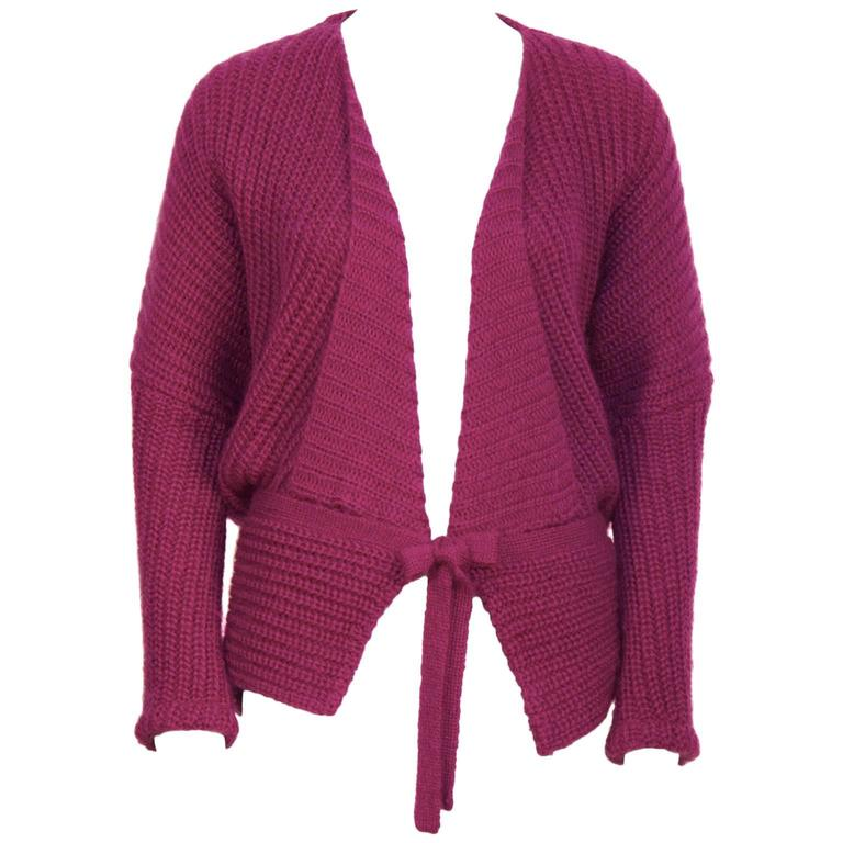 1980's Missoni Chunky Fuschia Knit Sweater For Sale at 1stdibs