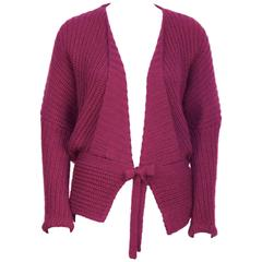 1980's Missoni Chunky Fuschia Knit Sweater