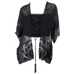 Edwardian Black Silk Chiffon Kimono Sleeve Blouse With Asian Floral Pattern, Me