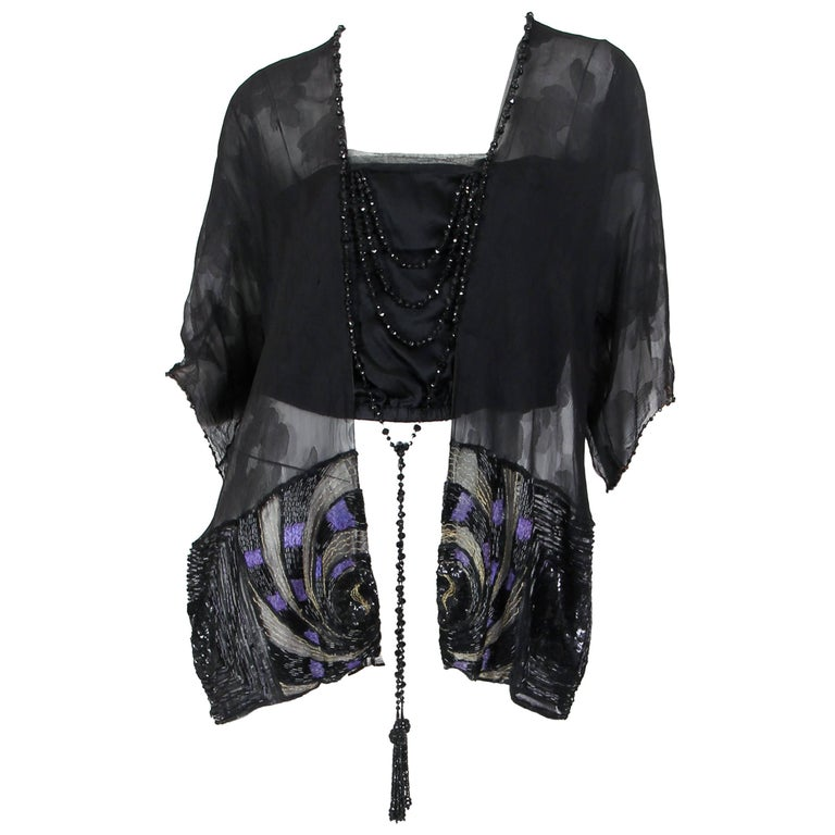 Edwardian Black Silk Chiffon Kimono Sleeve Blouse With Asian Floral Pattern, Me For Sale