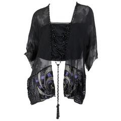 Art Deco Metal Embroidered Silk Tunic with Beaded Tassels