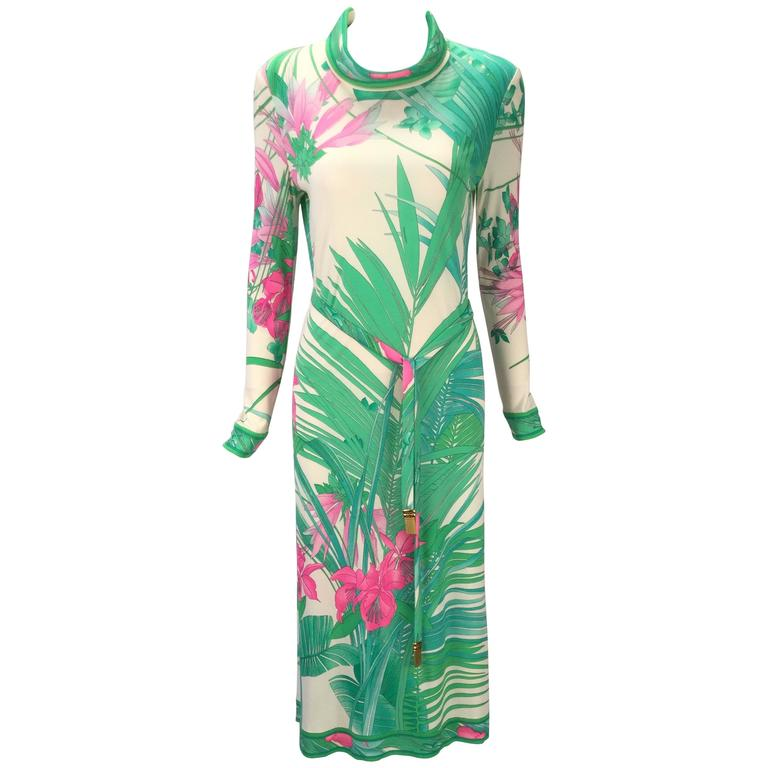 Leonard Paris Botanical Print Silk Jersey Knit Dress, 1960s
