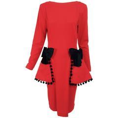 Isabelle Allard Paris red jersey dress with peplum hip bows & pom poms 1990s