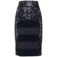 Prada Black and Charcoal Stripe Monkey Pencil Skirt