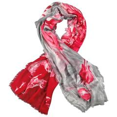 LORO PIANA Red Pink & Gray Cashmere - Silk Floral Anemone Soffio Scarf