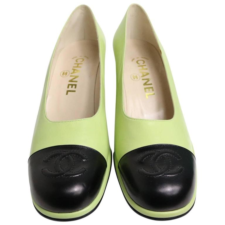 Chanel Green Two Tones Leather Loafers Shoes 1