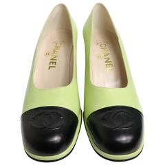 Chanel Green Two Tones Leather Loafers Shoes