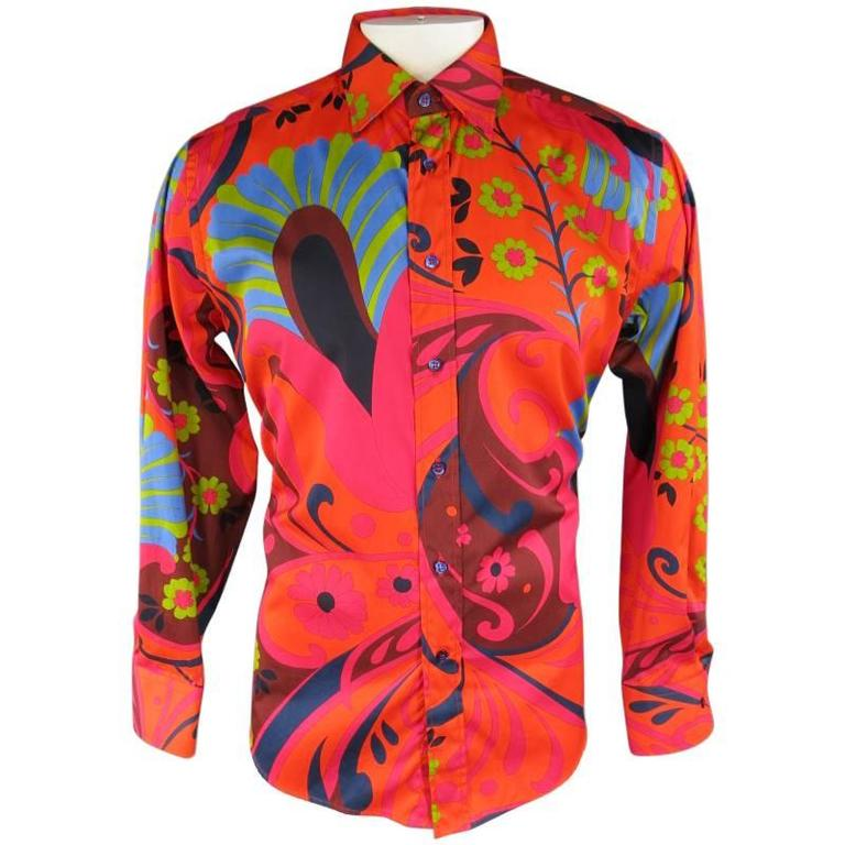 b9b5786e9bd2d4 HomeFashionClothingShirts. GUCCI by TOM FORD Size L Orange Retro Floral  Print Cotton Long Sleeve Shirt For Sale
