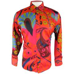 GUCCI by TOM FORD Size L Orange Retro Floral Print Cotton Long Sleeve Shirt