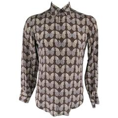 GUCCI Size M Taupe Butterly Print Silk Long Sleeve Dress Shirt