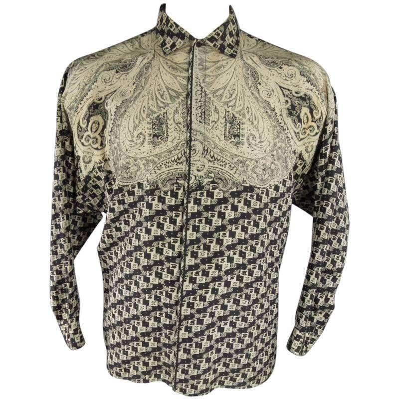 Gianni versace men 39 s size xs beige and black paisley silk for Versace style shirt mens
