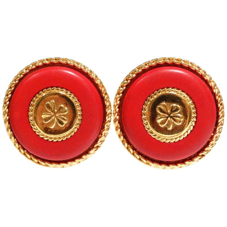 1980s Iconic Chanel Clover Earrings  For Sale