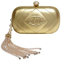 1980s Gold Chanel Clutch with Pearl Tassel