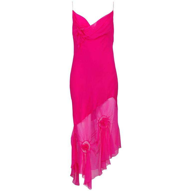 John Galliano for Christian Dior Shocking Pink Silk Chiffon Dress Ca. 2000 1