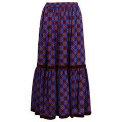1970s Yves Saint Laurent Plaid Tiered Summer Wool Skirt w/Velvet Trim