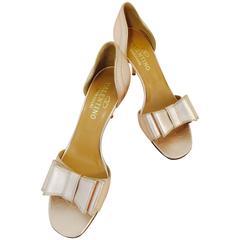 Valentino Garavani Rose Gold Metallic Leather High Heel Sandals