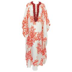 Ultra Luxurious Andrew GN Silk Caftan With Coral Encrusted Neckline