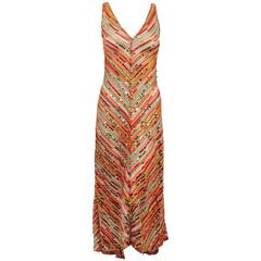 Missoni Multi Color Knit Sequined Dress With Hi-Low Flared Hem and Laced Back