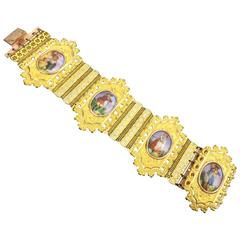 Georgian Bracelet. Romantic Porcelain Portraits on Pinchbeck. C.1820