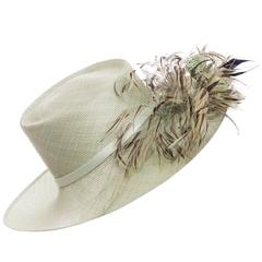 Philip Treacy Sinamay Hat With Feather Accent