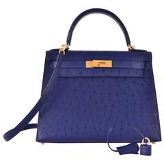 Hermes Ostrich Kelly 28cm Blue Iris Gold Hardware JaneFinds