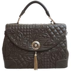 VERSACE Chocolate Brown Leather Barocco Embroidered Altea Vanitas Bag